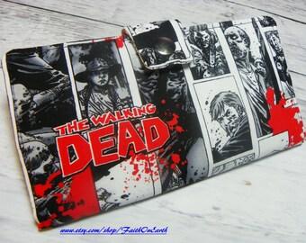 SALE TWD Handmade Long fandom geek Wallet - Vegan Wallet -  Walking Dead Comic Wallet