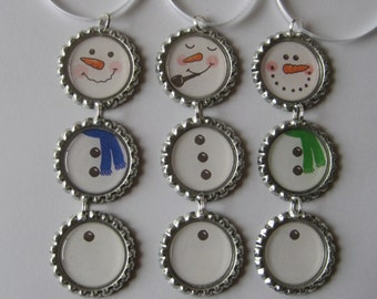 Snowman with ONE Blue Scarf OR Pipe OR Green Scarf Flattened Bottle Cap Ornament