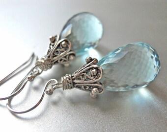Light Topaz Earrings, Gift Idea, Quartz Earrings, Raindrop Earrings - Sterling Empire - Medium Size