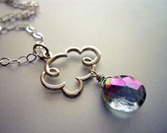 Cloud Necklace, Rainbow Topaz Cloud Charm Necklace, Cloud Charm Necklace, Rain Cloud Necklace, Rain Necklace, Rain Cloud Jewelry,