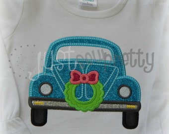 Christmas Beetle Bug Car Wreath Embroidery Applique Design