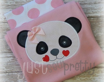 Valentine Panda Face Embroidery Applique Design