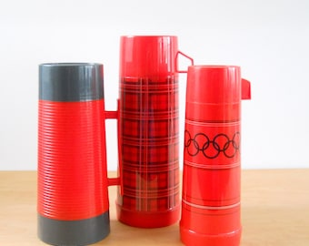 Vintage Thermoses • Red Instant Thermos Collection • Mid Century Thermoses