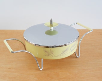 Vintage Metal Casserole Dish • Covered Serving Dish Mid Century