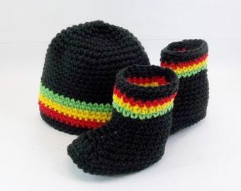 Crochet  Baby Booties & Hat Set Rasta Jamaican Style  Black  Photo Prop Crochet Baby Set