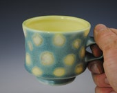 Green Mug with Yellow Spots