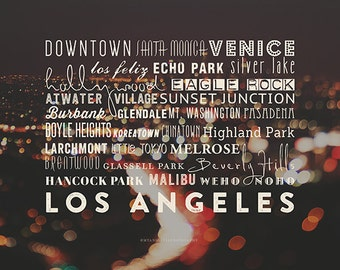 LA neighborhoods, typography print, Los Angeles home decor, bokeh, la city print, LA poster, black, California downtown, Hollywood, Venice