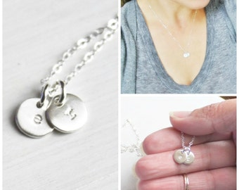 Two Tiny Initials Necklace/ Personalized Necklace/ Hand Stamped Jewelry/ Two Silver Initials Necklace/ Couples Necklace/ Mothers Necklace