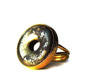 Golden Circle Ring with a Pyrite Stone