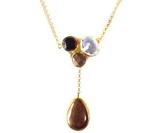 Triple Stone Necklace with Quartz, Smoky Quartz and Pyrite Stones