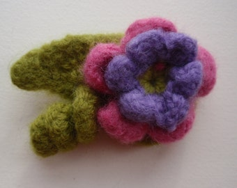 Crocheted Felted Floral Pin