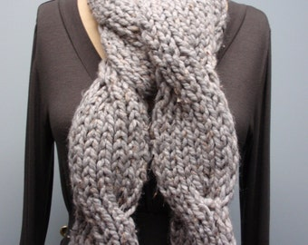 Knit Twisted Cable Scarf Light Gray with Black and Brown Flecks