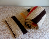 Striped Scarf, Hand Knit, Autumn Colors, Oatmeal, Beige, Tan, Yellow, Red, Long, Warm, Traditional, Classical, Men, Women,  Machine Wash,