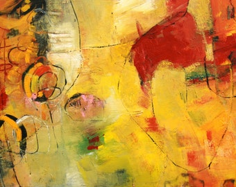 """GOLD ABSTRACT PAINTING  Original Art  """"Lumina"""" Acrylic on 24""""h x 48""""w x 1.5"""" canvas by Contemporary Artist Elizabeth Chapman"""