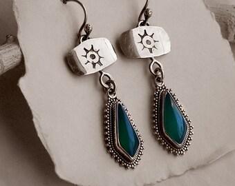 Green Onyx & Sun Stamped Sterling Silver Dangle Earrings . Mexico Modern Boho Southwestern Jewelry
