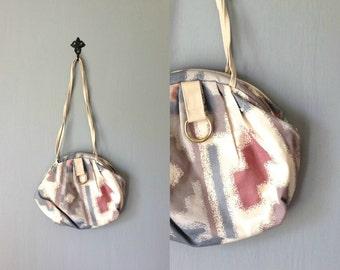 Vintage MARIANNA Purse • 1980s Accessories • Shoulder Bag Hinged Muted Pastel Tapestry Handbag Blue •Ivory White Ikat Southwestern Print