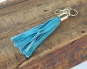 Dark Teal Boho Tassel Keychain by Binding Bee RECLAIMED leather gold end cap
