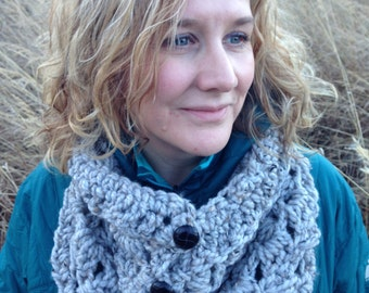 The Highland Cowl Crochet Pattern - Chunky Oversized Button Cowl Pattern DIY