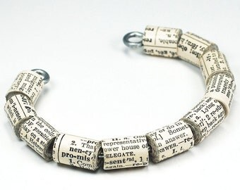 Dictionary Jewelry- Upcycled English Dictionary Paper Bead Bracelet, Cuff Bracelet, Book Lover Gift, Word Jewelry, Paper Bead Jewelry