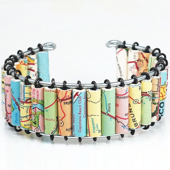Paper Bead Jewelry- Upcycled US Road Atlas Map Bracelet Cuff, Map Jewelry, Paper Jewelry, Paper Bead Bracelet, United States Jewelry