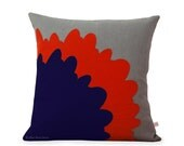 Red Pop Art Flower PILLOW COVER in Grey Natural Linen by JillianReneDecor | Designer Home Decor | Poppy and Navy | Mid Century Inspired