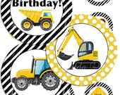 INSTANT DOWNLOAD Construction Party Printable 2 Inch Cupcake Toppers - Boy's Birthday Party - Labels  Printable Party Packages Bottle Labels