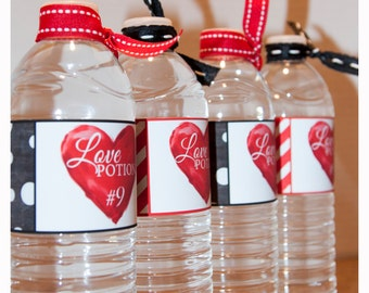 LOVE POTION #9 Black and Red Water Bottle Wrappers - Valentine's Day - Water Bottle Labels Instant Digital Download Printable Party Packages