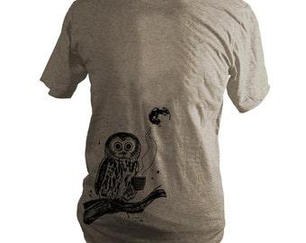 Light Brown Coffee Owl, Bird, Moon Triblend T-Shirt, Unisex, Men, Women - Gifts for Him or Her