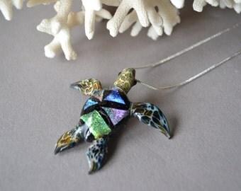 Multi-colored Sea Turtle Jewelry Pendant