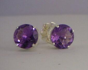 Purple Amethyst Studs Handmade Sterling 925 Silver Ladies Pair of Post Earrings