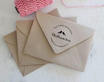 Love Birds personalized return address stamp