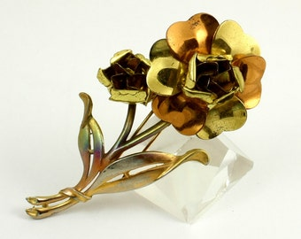 Vintage Large Two Tone Metal Rose Flower Fur Clip, Yellow Gold and Copper Tone Dress Clip