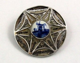 Vintage Delft Brooch Silver Filigree Brooch Lace Filigree Delft Blue and White Delftware Jewelry Delft Porcelain Windmill Dutch Pin