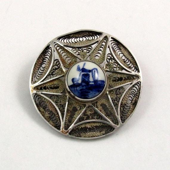 Vintage Silver Filigree Delft Brooch Pin