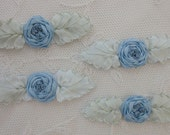 4pc Vintage Chic PORCELAIN BLUE Silk Ribbon Embroidered Spider Rose Flower Applique Christening Gown Baby Doll Hair Bow