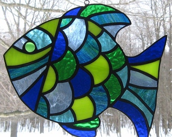 Stained Glass Tropical Fish Suncatcher-Glass Art-Blue Green Fish-Beach Decor-Home Decor
