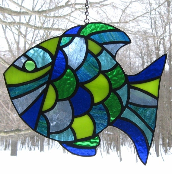 stained glass tropical fish suncatcher glass art blue green