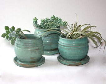 Stoneware Cerulean Planter Trio About Four Inches in Height Built in Saucers for Drainage