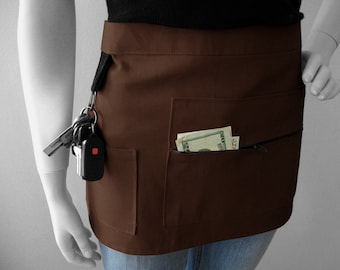 BROWN Vendor Apron - Unisex -  Canvas Waitress Apron - Hostess Apron