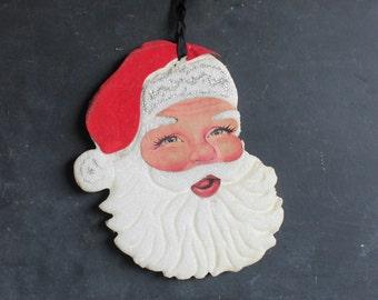 Vintage Sixties Styrofoam Santa Decoration, Retro Christmas