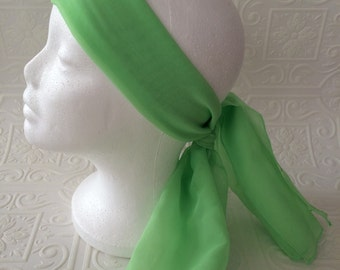 Lime green vintage pin up nylon head scarf