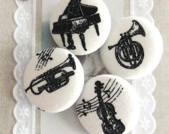 "Handmade Large Country Rustic Off White Black Piano Violin Musical Fabric Covered Buttons, Music Piano Fridge Magnets, Flat Backs, 1.25"" 4's"