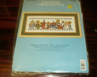 Complete Kit Birdhouses in a Row Candamar 50833 Counted Cross Stitch Kit Bird House