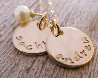 Golden Two - Gold Mother's Necklace - 14 kt Solid Gold Necklace - Personalized Necklace- Fine Jewelry