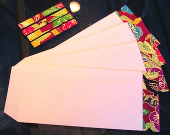 set of 4 colorful perforated tear away gift envelopes - toucan -  red - black - gold