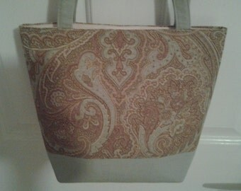 Pink and Sage Paisley Bag Purse Tote
