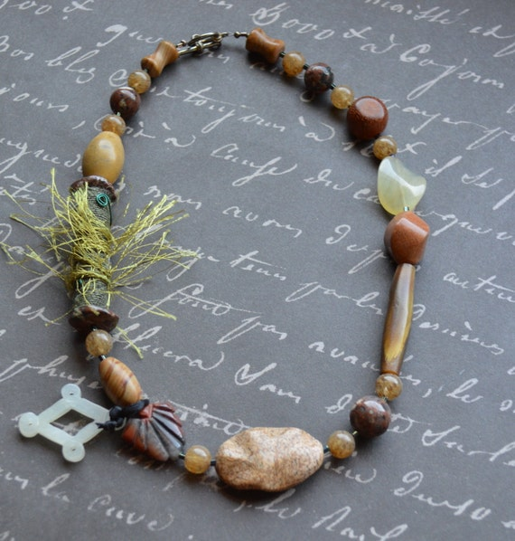 Various Shades of Brown Necklace with Green Fabric Bead OOAK