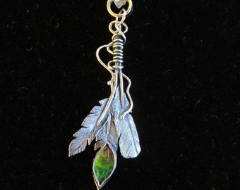 Sterling Silver  Ammolite  Brutalist Feather Pendant