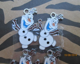 Frozen Olaf  6 OLAF Charms, Metal, Ready to use on Necklace or Bracelet or Pin