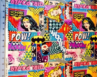 Girl Power Wonder Woman Super Girl and Batgirl Pastel Fabric In stock and ready to be shipped